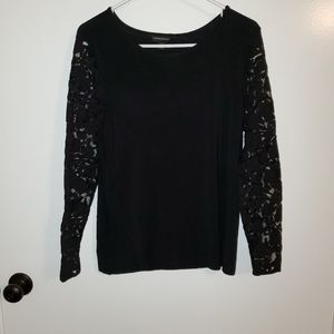 Banana Republic Lace Sleeved Top Black XS